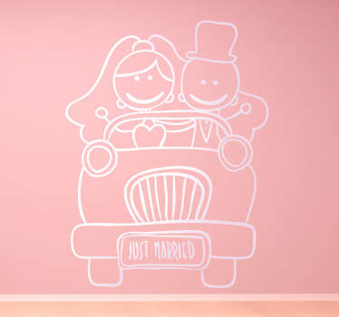 Fun mono-colour sticker with a couple in a car celebrating their wedding day