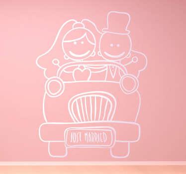 Sticker dessin jeunes mariés