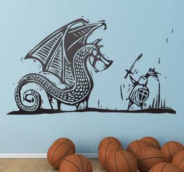 Vinilo grabado lucha dragón y caballero