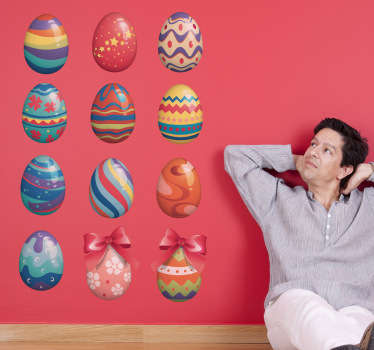 A collection of colourful and patterned eggs that are perfect for decorating your home or business for Easter.