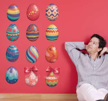 Sticker versierde paas eieren
