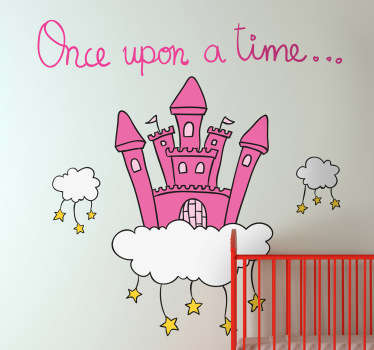 Kids Wall Stickers - Magical wall decoration ideal for decorating areas for children. Create a place for story time to tell great childhood story classics and fairy tales. This vibrant wall sticker shows a pink castle on a cloud with stars hanging down.