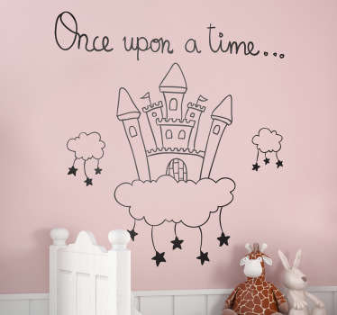 Beautiful fairy tale wall sticker of a castle floating on a cloud with multiple stars hanging below. Simply select the colour and size that works best for you and decorate your daughter's room quickly and easily with this high quality clouds wall sticker.