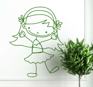 Girl Waving Sticker