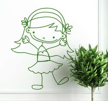 Sticker tekening meisje rokje