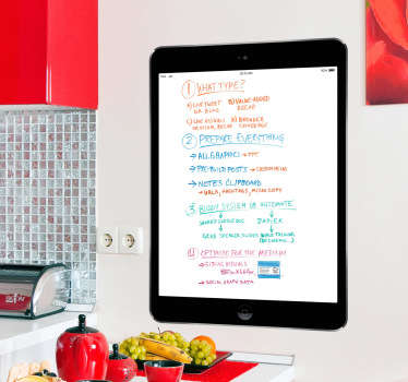 A superb black iPad whiteboard design to decorate your kitchen or any space at home. A great whiteboard sticker to write on.