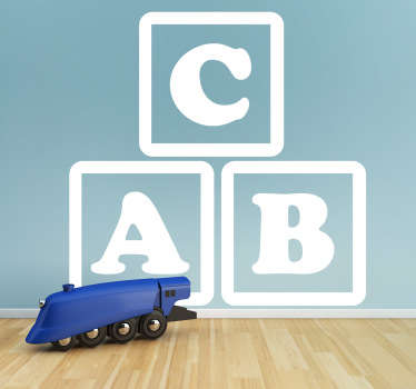 This decorative decal illustrates three blocks with the letters A, B, and C which are ideal in environments with young children.
