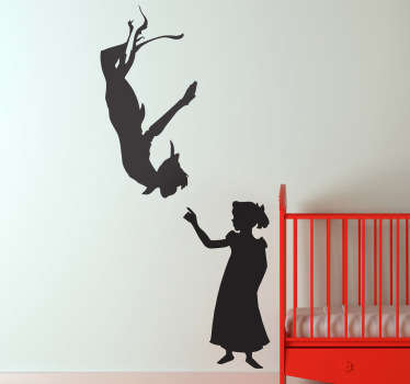 A silhouette outline design of Peter Pan and Wendy from our brilliant collection of Peter Pan wall stickers for children