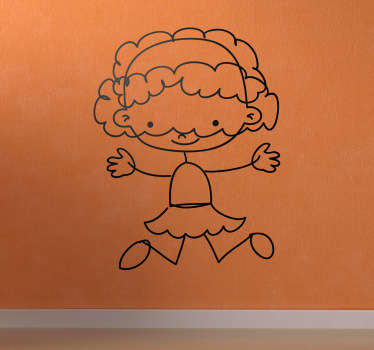 A very friendly sticker of a girl with long hair jumping. Superb decal to decorate your child´s room and make it look more like it should!