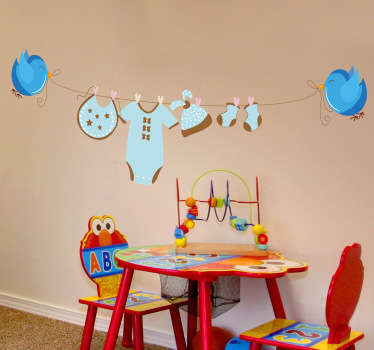 Kids Wall Stickers - Fun illustration suitable for a boy´s room of two blue birds holding a clothing line.