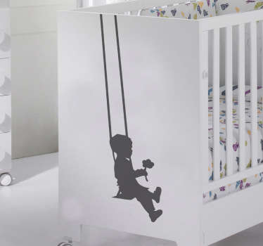 Kids Wall Stickers - Swing Silhouette Decal illustrating a young boy on a swing holding a flower. Our vinyl stickers are easy to apply and leave no residue on removal