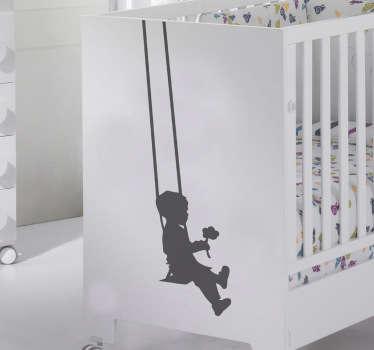 Otroci silhueta fant swing decal