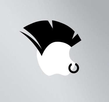 Sticker mac apple crête punk