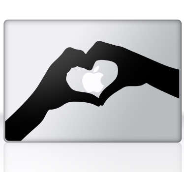 A silhouette outline of two hands forming a heart. A lovely heart wall art design from our collection of MacBook stickers.