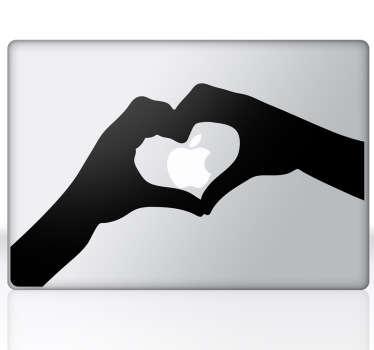 Autocolante decorativo coração e mãos MacBook