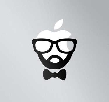 Sticker mac apple visage hispter