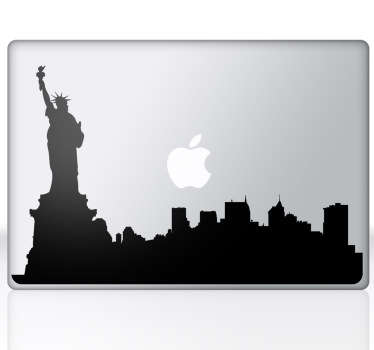 Sticker mac apple silhouette new york
