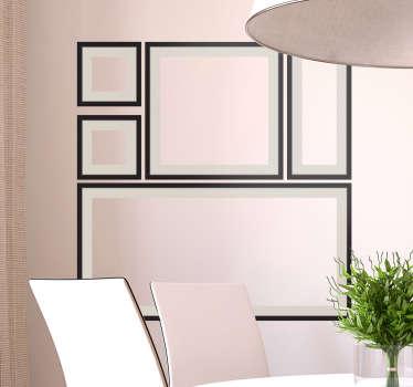 Sammensetning av forskjellige dekorative rammer med svart kontur og en matt finish for å dekorere hjemmet ditt på en annen og original måte.