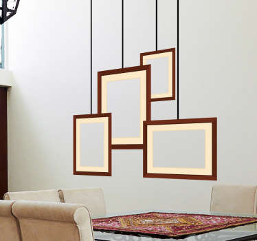 A collection of four rectangular frames that create the effect that they are hanging from the ceiling.