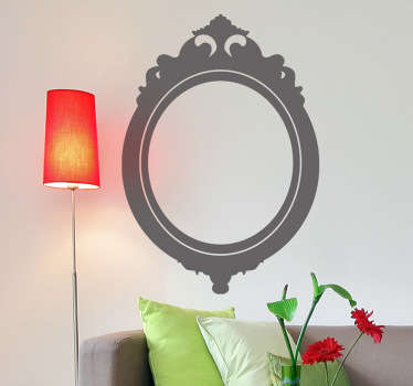 A  decorative mirror frame wall sticker to decorate your home and give it a classic feel. The mirror decal is an elegant design with a floral finish at the top.