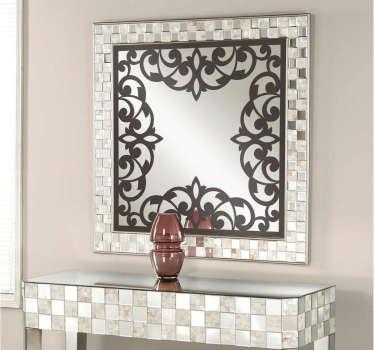 Vinilo decorativo marco floral antiguo