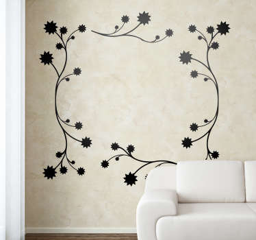 An elegant decal of a mono-colour floral pattern made up of flowers and branches, that forms a beautiful frame shape.
