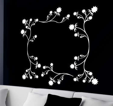 Wall Stickers- Abstract decorative frame of flowers. Decorate your home with a touch of colour. Available in various sizes and in 50 colours. Decals.