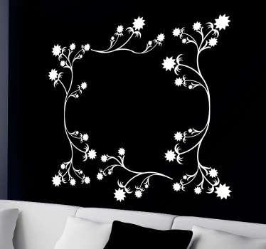 Vinilo decorativo marco flores