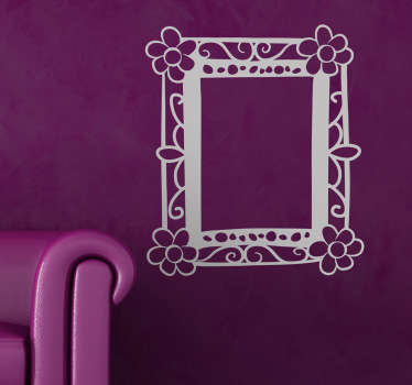 Drawn Flower Frame Wall Sticker