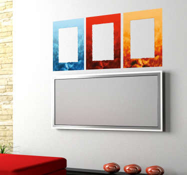Wall Stickers - Three coloured frames for decorating any space. Blue, red and yellow.