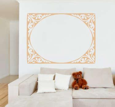 Muursticker van een ovale frame/kader met een sierlijke rand! Beplak deze sticker en personaliseer de kamer!