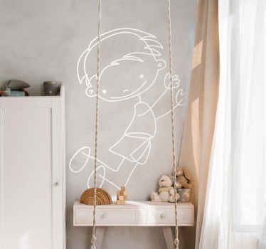 A very friendly sticker of a boy smiling and jumping. Superb decal to decorate your child´s room and make it look more like it should!
