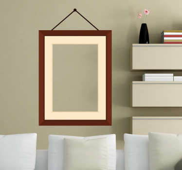 Exclusive and original design of a decorative matte wooden frame that appears as though it is nailed to the wall and hanging by two wires.