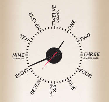 Original vinilo de reloj monocolor en acabado mate formado con las horas escritas en inglés. Compra Online Segura y Garantizada.