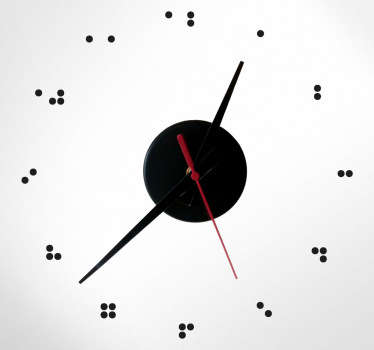 An original clock decal with the numbers appearing in the way that it does for blind and/or hard of sight people. Perfect for any home or buisiness
