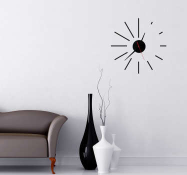 A modern clock wall sticker with lines of different sizes to define the hours. Looking for something else than just a sticker? This clock  ideal