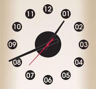 Sticker muur klok uren cirkels