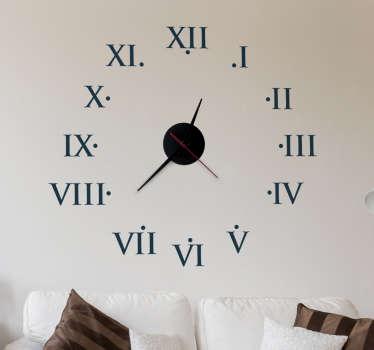 Sticker klok romeinse cijfers
