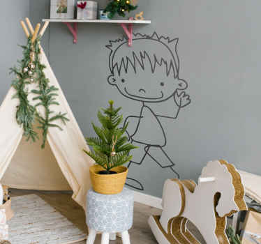 A very friendly sticker of a boy smiling and waving. Superb decal to decorate your child´s room and make it look more like it should!