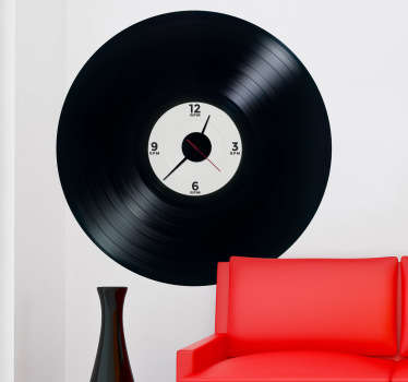 Sticker klok muziekplaat