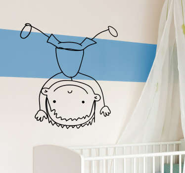 Playful illustrative sketch of a little boy doing a hand stand. Usually used as a kid´s bedroom sticker or as a nursery wall sticker as it creates a fun and playful atmosphere.