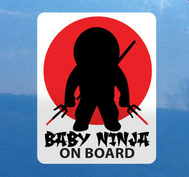 Baby Ninja Car Sticker- If there is a little samurai travelling with you in your vehicle then you will need this fantastic baby car sticker. This baby on board sticker design was inspire by Japanese ninjas.