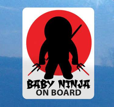 婴儿忍者车贴纸上