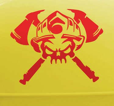 Sticker tête-de-mort pompier