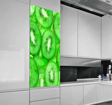 Wall Stickers - Photographic image of chopped kiwis. Vibrant decal that can be applied vertically or horizontally. Ideal for adding a touch of colour.
