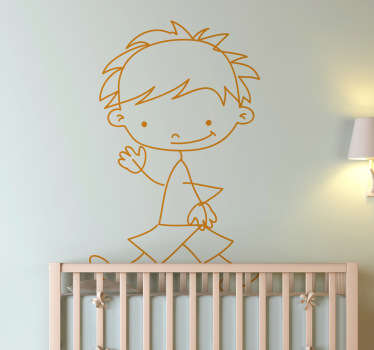 A very friendly sticker of a boy happily walking. Superb decal to decorate your child´s room and make it look more like it should!