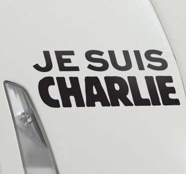 """Retrouve le désormais célèbre """"Je suis Charlie"""" sur sticker. Pour la liberté d'expression, la satyre et Charlie Hebdo et contre le terrorisme ? Ce sticker est fait pour vous."""