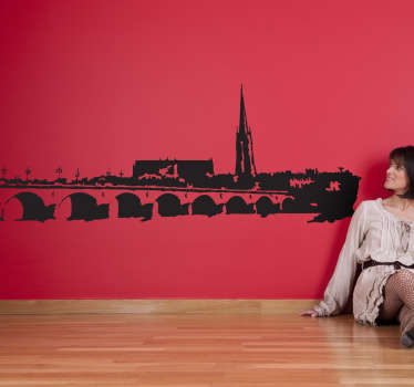 Wall Stickers-A classic stone bridge across a river of a beautiful European village. Give a rustic touch to your home.
