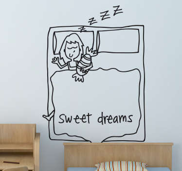 Decorative drawing wall art decal for children bedroom space.  It is featured with the text '' sweet dream''. Available in any required size.