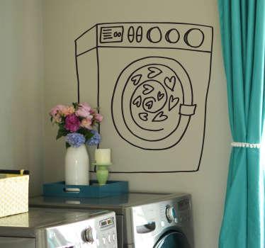 Adesivo murale lavatrice centrifuga cuori